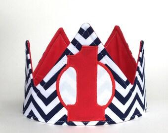 Boy first birthday crown, Navy chevron first birthday crown, 1st birthdat hat, first birthday hat