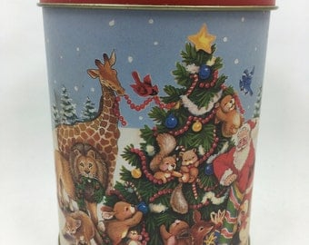 Vintage 1980s Christmas tin Santa and Animals