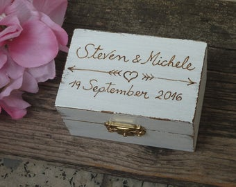 Rustic Wedding Ring Box White Ring Bearer Box Personalized Ring Holder Arrows and Heart Ring Pillow Bearer Box Custom Color