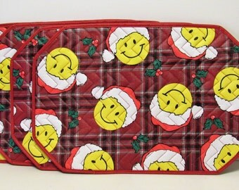 christmas smiley face vinyl placemats set of 4 quilted vinyl