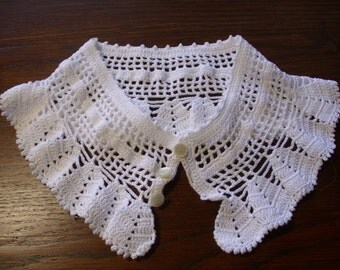 Vintage White Crochet Collar, Handmade Lace Collar, Detachable Collar, Ruffled Collar, Removable Collar, Sweater Collar, Fashion Accessory