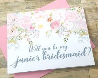 Bridesmaid proposal card - will you be my junior bridesmaid - flower girl - maid of honor - blush flowers - bridal party - GARDEN ROMANCE