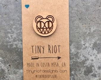Radiohead Bear Logo Wooden Lapel Pin
