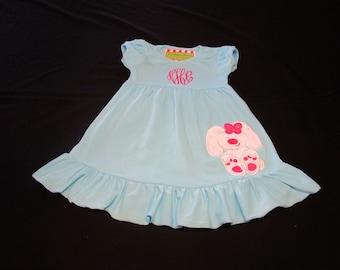 Girl Easter Dress-Girl Personalized Dress-Girl Monogrammed Aqua Dress-Birthday Dress-Blue Girl Dress-Girl Portrait Dress-Mint Dress