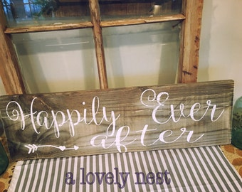 Happily ever after sign wedding sign barnwood rustic decor