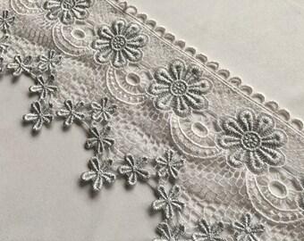 White & Silver lace trim, venise lace trim