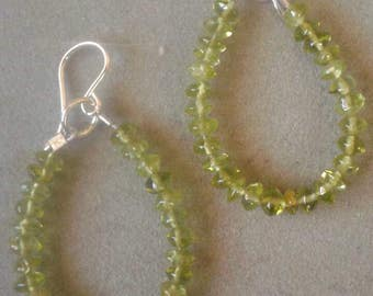Sterling Silver Peridot Beaded Dangle Hoop Earrings, August Birthstone