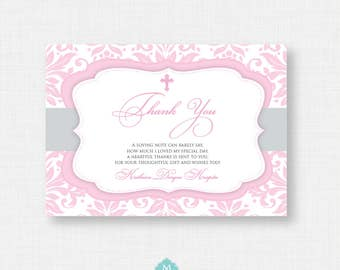 Printable Baptism Thank You Card - DIY Printable Thank you - Christening, First Communion, Dedication, Baby Blessing - Pink Flourish