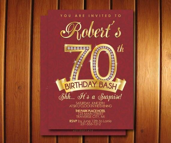 70th Birthday Invitation Adult Birthday Party Invitation Milestone