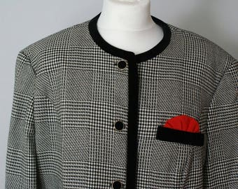 Houndstooth Vintage Jacket Coat  Pure Wool 1980's made in Germany