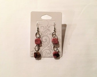 Earrings. Pink Square Stone Beads on Silver Chain Links.