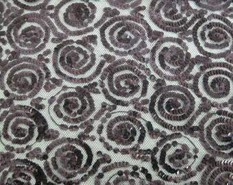 Black Sequin Net Lace, Vintage Black Sequin Net Lace, Black Sequin Lace