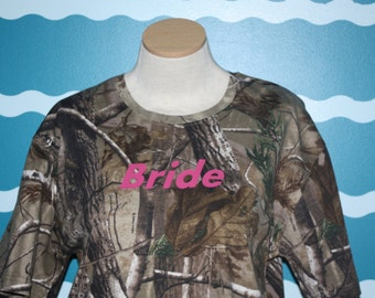 Camoflauge bride tshirt - buck and doe bridal party - gift for the bride - wedding party gift - camo wedding shirts - honeymoon tshirt