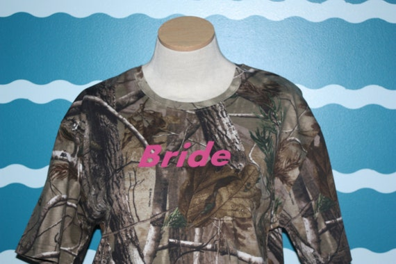 Camoflauge bride tshirt - buck and doe bridal party - gift for the bride - wedding party gift - camo wedding shirts - honeymoon tshirt