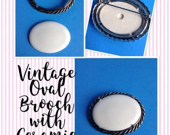 Nine Vintage Silvertone Oval Brooches