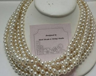 Vintage multistrand pearl necklace 1950s jewelry neckwear bridal statement jewelry