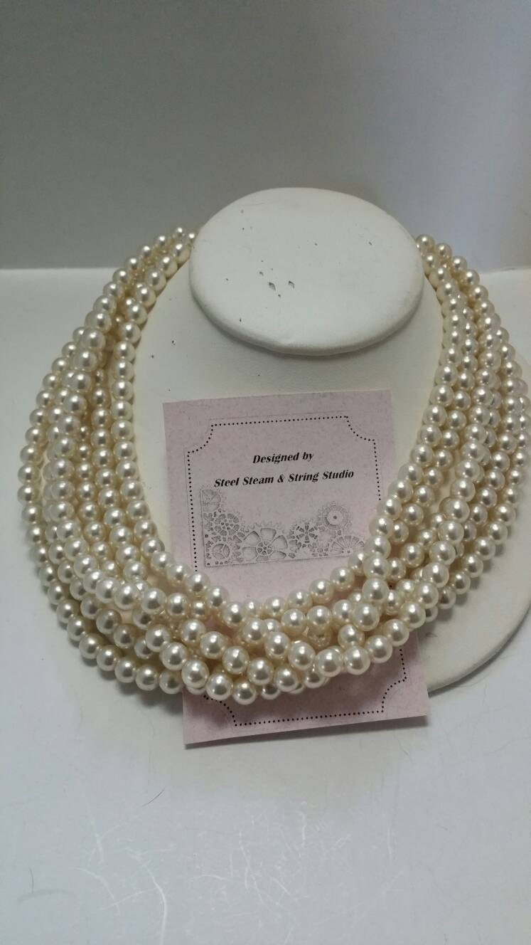 Vintage multistrand pearl necklace 1950s jewelry neckwear