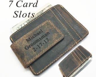 Personalized Custom Engraved Leather Money Clip Leather wallet -Groomsmen,Groomsman ,Father, grandfather, Husband, Him, Man gift