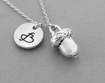 Acorn necklace. silver charm necklace.  friendship jewelry. personalized Initial necklace. custom letter.monogram necklace.silver necklace