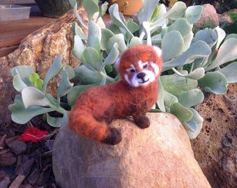 Needle felted red panda Pete
