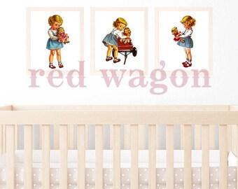 Retro Vintage Girl Dolly Wagon A4 3 print wall art set