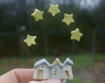 tiny triple house Christmas ornament with 5 stars, OOAK hand carved stoneware clay