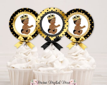 Cupcake Topper Circles | Black & Gold Dot | African American Little Prince | Digital Instant Download