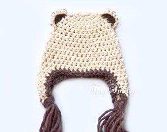 Baby Bear Hat, Cotton Baby Hat, Newborn Bear Hat, Photo Props, Earflap Bear Hat, Baby Hat with Ears, Beige Bear Hat, Newborn Outfits, Teddy