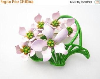 SALE Vintage Enamel Flower Basket Brooch Pink and Green Boquet