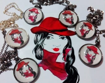 Red Fedora Necklace, Red Fedora Pendant, Fashion Illustration Necklace, Fashion Illustration Pendant ,Art Print Necklace,