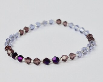 Swarovski Stretch Bracelet, Sparkly Jewelry, Purple Stackable Bracelet, Arm Candy, Boho Beaded Bracelet, Bridesmaid Gift, Gift for Her