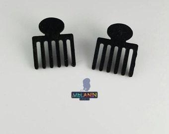 African Comb- Handmade Wooden Earrings