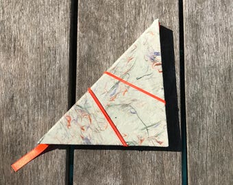 triangle shaped notebook, journal with handmade paper and fluor orange, neon orange closure