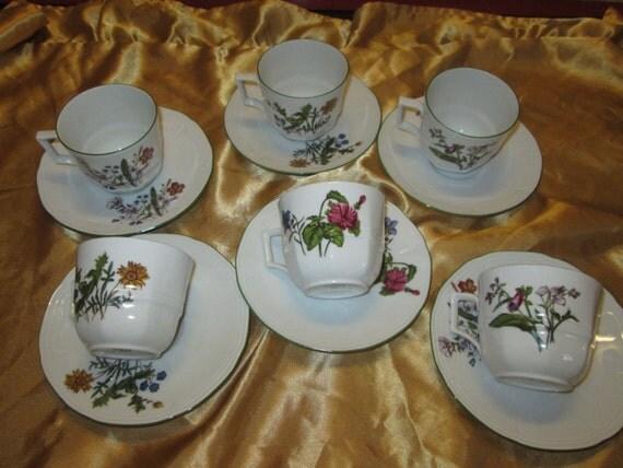 Set of SIX Vintage Bareuther Waldsassen Bavaria - Tea Cups & Saucers!
