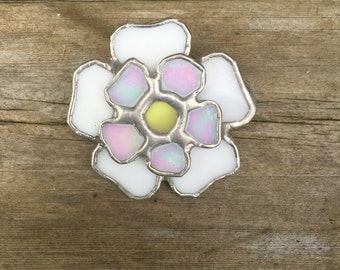 Stained glass Jacobite / Yorkshire Rose Brooch