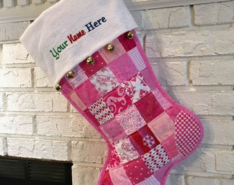 Quilted Patchwork Christmas Stocking, Pink Cotton Fabric, Personalized Free, White Flannel Cuff with Jingle Bells, Large Size, Fully Lined