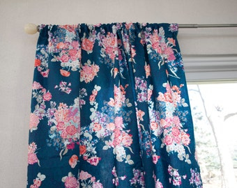Navy Floral Pink Coral Purple Window Curtain Panels. (Sold by 1)