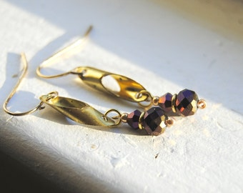 Purple and Gold Cylinder Earrings