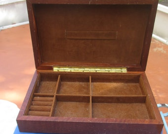 Vintage Wooden Rectangular Jewelry Box TLC