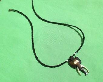 Retro Batik Bone Elephant Head Black Beaded Necklace Clasp Repair