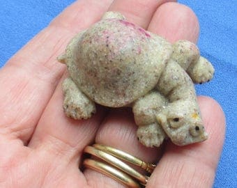 Vintage Adorable Stone Or Resin Turtle Miniature  Stain On Shell TLC