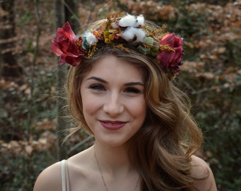 Woodland Flower Crown Hair Wreath Floral Headband Cotton Southern Wedding Handmade Red Yellow White Green Dried Flowers