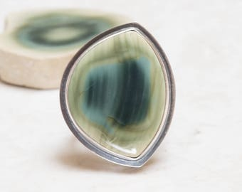 Royal Imperial Jasper Ring - 7.5, Sterling Silver, Oxidized