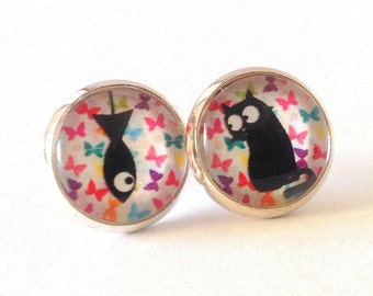 Silver stud cat and fish on bottom multicolored butterflies