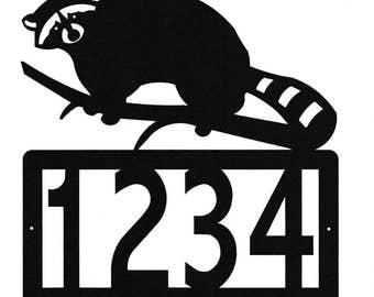 Custom Raccoon Address Metal Sign