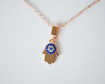 Hand Of Fatima Hamsa Necklace With Evil Eye - Evil Eye Necklace - Hamsa Charm - Women Good Luck Bracelet Charm Hand Of Fatima Turkish Eye