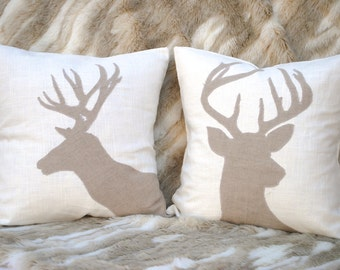 Two Reindeer Christmas Pillow covers, holiday pillow, decorative pillow, cushion, Christmas decoration, Tan Pillow, Antlers, Reindeer Pillow