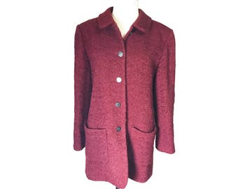 Chanel Vintage Burgundy Wool Coat