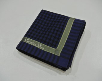 Christian Dior Blue HoundsTooth Pattern Handkerchief