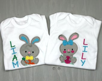Personalized Twin Set Bodysuits - Twin Shower Gift - Sibling Clothes - Twin Outfits - Funny Twin Clothes - Twin Gifts - Easter Shirts